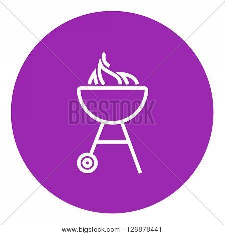 Kettle barbecue grill line icon.