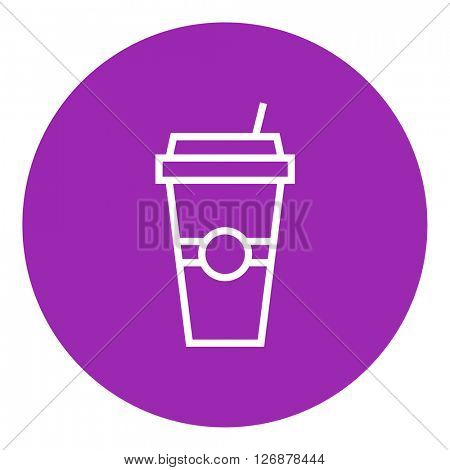 Disposable cup with drinking straw line icon.