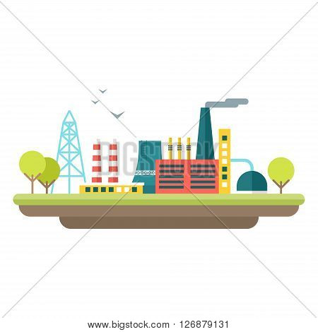 Factory concept illustration. Flat style vector illustration. Industrial landscape