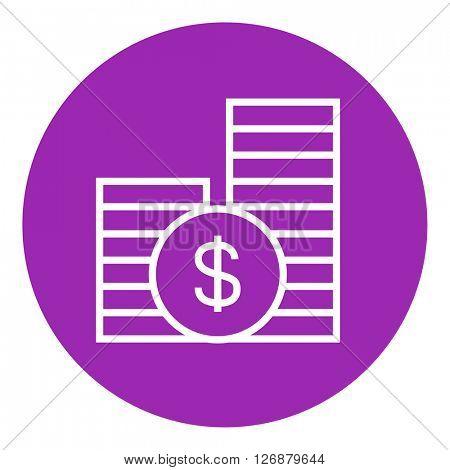 Dollar coins line icon.