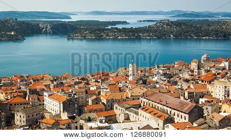 Sibenik old town panorama view from Barone fortress