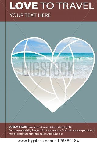 Sea Shore In The Shape Of A Heart. Cover Design, Brochures, Flyers. With Space For Text