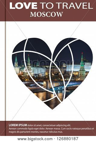 Photo Of Night Moscow In Shape Of A Heart. Cover Design, Brochures, Flyers. With Space For Text