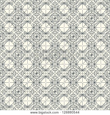 Vector light seamless pattern with interweaving of thin lines. Decoration graphic in mono line style. Simple abstract ornamental gray and gold illustration. Linear, art deco, vintage, hipster style.