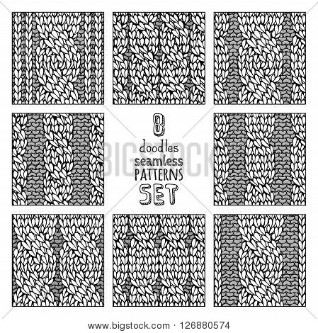 Vector Set Of Various Doodles Cable Stitch Patterns.
