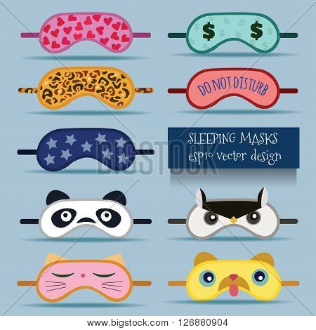 Sleeping masks vector design illustration. Isolated on background