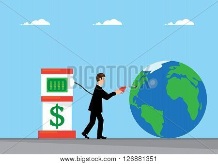 A businessman pumps Dollars into the earth. A metaphor on the reserve currency.