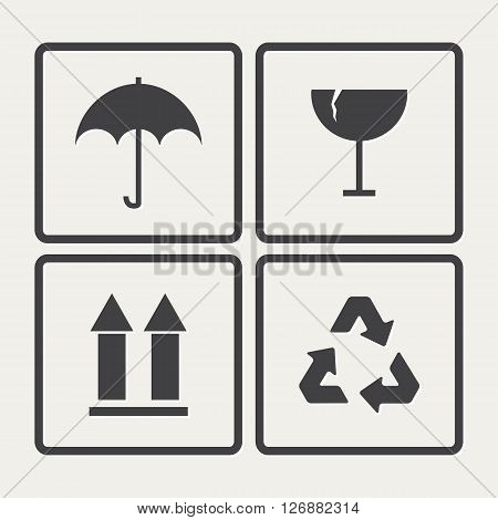Fragile icons set.Vector Fragile box icon isolated on a white background.Black fragile symbol .Packaging.Vector box sign warning
