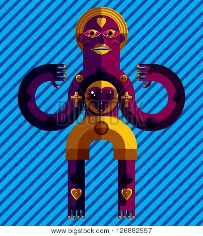 Meditation theme vector illustration drawing of a creepy creature made in modernistic style. Spiritual idol created in cubism style. Love concept.