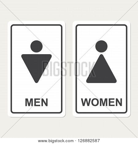 Male and female WC icon denoting toilet and restroom facilities for both men and women with black male and female silhouetted figures in flat style