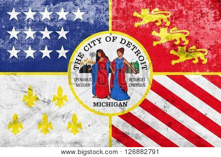 Flag Of Detroit, Michigan, With A Vintage And Old Look