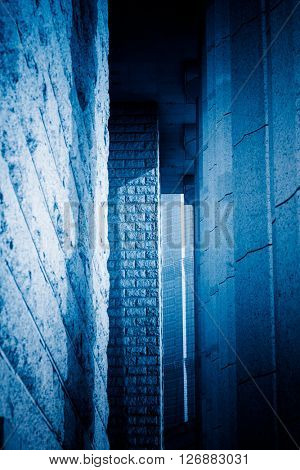 building corridor,shanghai china,blue toned image.
