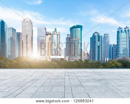 city skyline under blue sky,shanghai china.