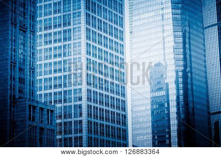 architectural building,shanghai china,blue toned image.