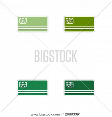 Set of paper stickers on white  background bank card
