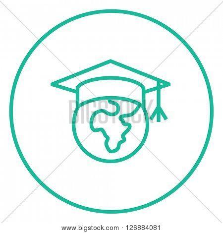 Globe in graduation cap line icon.