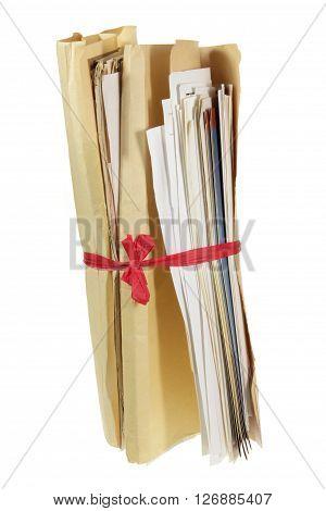 Bundle of Documents on Isolated White Background