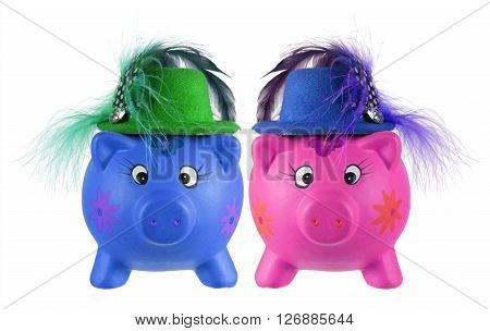 Piggy Banks with Hats on White Background