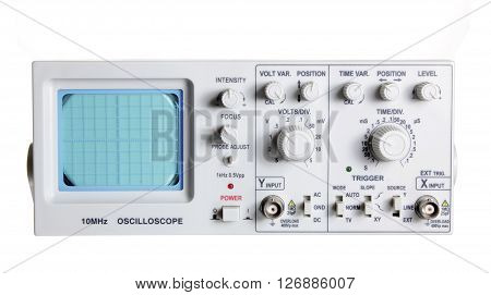 An Oscilloscope on an Isolated White Background