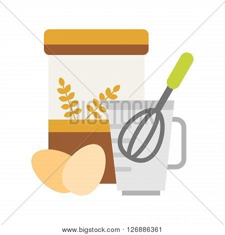 Flour and Eggs for Making Dough with Beater in a Measuring Cup. Vector Illustration in Flat Design Style