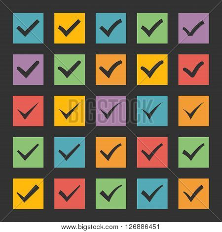 Check marks icon vector set.Set of  different black vector ticks or check marks  in color square confirmation acceptance positive passed voting agreement true or completion of tasks on a list.