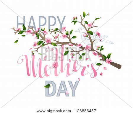 Happy Mother's day! Vector typographical spring card with cherry blooms leaves and falling petals isolated on white background.