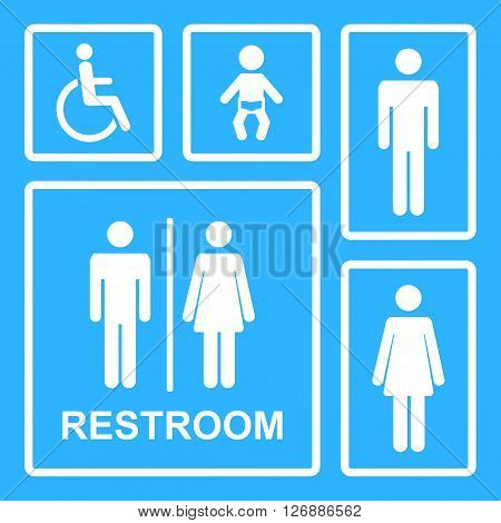Vector Restroom Icons For Men Women Lady Man Baby