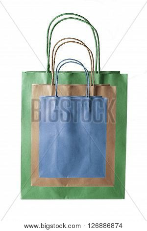 Stack of Paper Bags on White Background