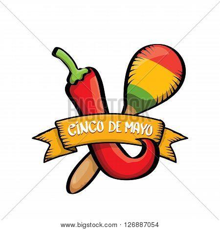 Cinco de Mayo vector icon . Mexican holiday vector. Cinco de Mayo calligraphic greeting card