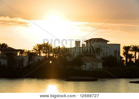 Sunrise over villa