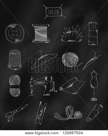 Linear hand drawn icons on chalk Board. Accessories belonging to a seamstress tailor fashion designer. Vector illustration
