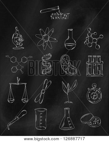 Linear hand drawn icons on chalk Board. Accessories belonging to the scientist the expert or the chemical laboratory. Vector illustration