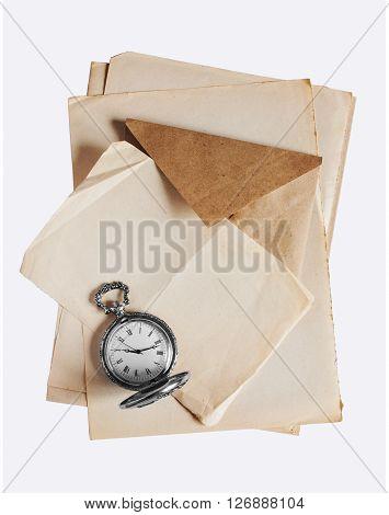 Vintage Pocket Watch And Old Letter