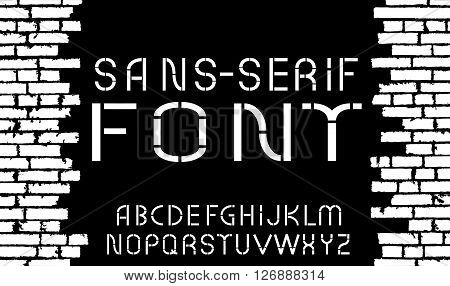 Black and white sans-serif modern font on old brick wall background. Vector illustration
