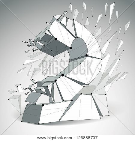 Vector dimensional wireframe number 2 monochrome demolished digit with fragments. 3d mesh technology element broken into pieces.