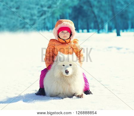 Child With White Samoyed Dog Lying On Snow In Winter