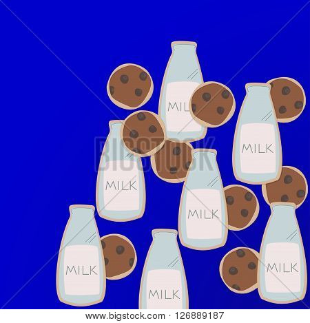 cookies bottle milk illustration breakfast chocolate on blue