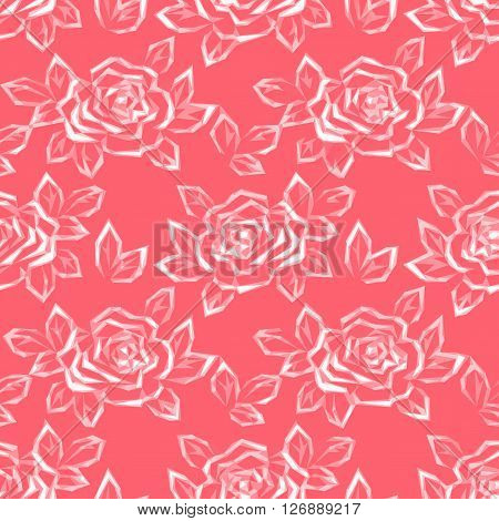 Floral Background with Flower Rose Pictogram, Low Poly Pattern. Vector