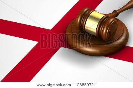 Alabama US state law code legal system and justice concept with a 3D rendering of a gavel on the Alabaman flag on background.