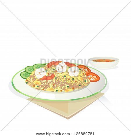 Fried rice with shrimp and egg cucumber tomato in dish.