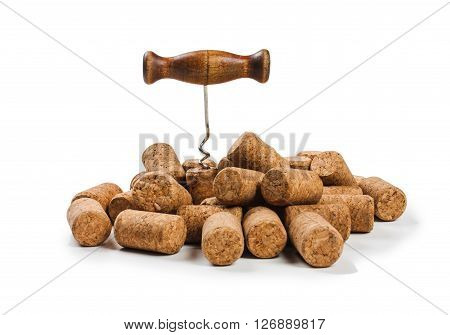 corkscrew with a mountain caps isolated on a white background
