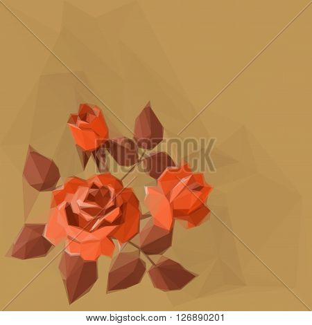 Background with Flower Rose and Abstract Low Poly Pattern. Vector