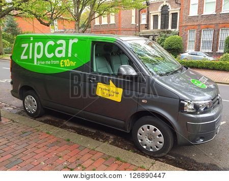 LONDON - APRIL 21: The rear view of a Zipcar Rental Volkswagen Transporter parked on Templewood Avenue on April 21, 2016 in Hampstead, London, UK.