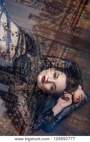 Girl Lying Upside Down On The Floor.