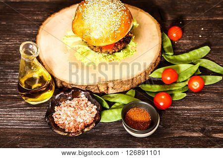 Homemade Veggie Burger In A Bun With Sesame