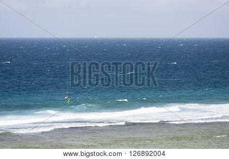 Kitesurfer In La Digue, Seychelles, Editorial