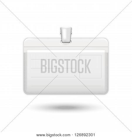 Badge vector.Vector realistic card identification isolated on a white background with shadow