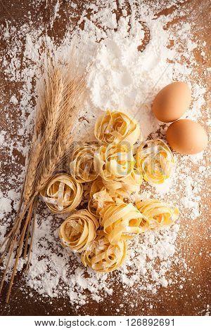 Fettuccine Pasta Italian Food Still Life Rustic Flat Lay
