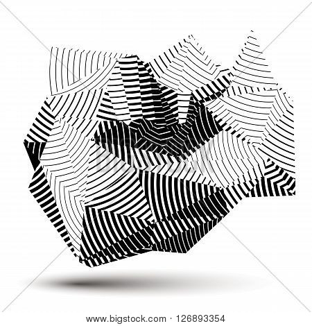 Complicated Abstract Grayscale 3D Striped Shape, Vector Digital Object. Technology Theme.