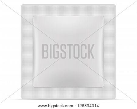 Sachet packaging on a white background. Vector illustration.